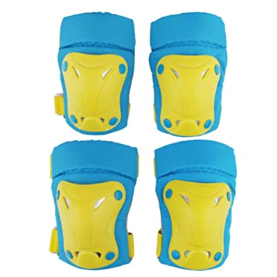 Outdoor Sports Protective Gear Set Boys Girls Cycling Safety Pads Set and Wrist Guards for Skateboard Bicycle Outdoor Protector (Color : E Blue, Size : S): Home & Kitchen