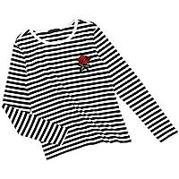 Romwe  de la mujer verano manga corta rayas Tee playera de algodón