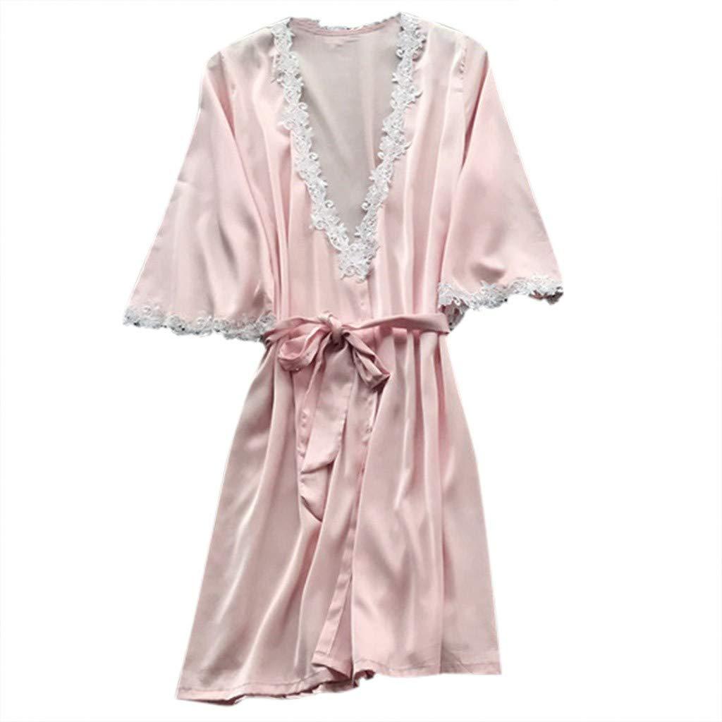 Women's Elegant Silk Satin Sleepwear Kimono Robe Pajamas Deep V Temptation Lingerie High Waist Bathrobes Night Dress (Pink, XXL)