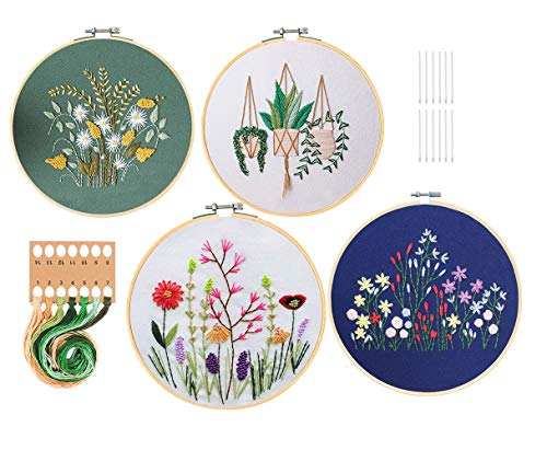 GOTONE 4 Pack Embroidery Starter Kit with Pattern and Instructions, Full Range of Stamped Embroidery Kits with 4 Pcs Embroidery Cloth with Pattern,2 Pcs Bamboo Embroidery Hoop,Color Threads Tools Kit