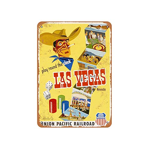 (Fhdang Decor Vintage Pattern 1952 Union Pacific to Las Vegas Vintage Look Metal Sign Aluminum Sign,6x9 Inches)