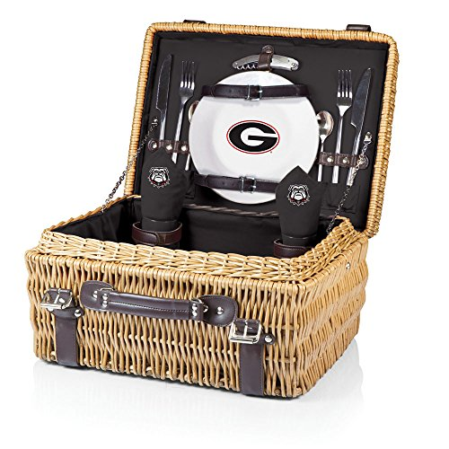 NCAA Georgia Bulldogs Champion Picnic Basket with Deluxe Service for Two, Black