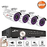 8CH 1080P POE NVR CCTV System Indoor Outdoor Waterproof Home Security Surveillance Kit With 4PCS IP Camera, With 1TB Hard Drive SW SWINWAY / ANRAN