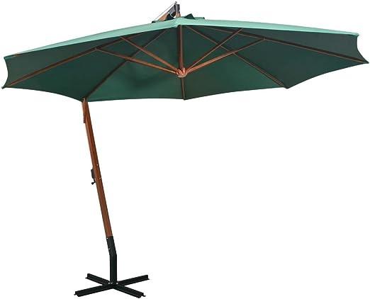 Shengfeng Sombrilla Colgar 350 cm Poste de Madera Verde. Vela Parasol Paraguas Parasol Cortinas Parasol Parasol Plegable Separador Exterior Jardín: Amazon.es: Jardín