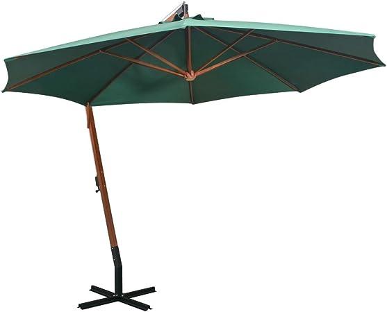 vidaXL Sombrilla Colgante 350 cm Verde Parasol Pedestal Toldo Cubierta Jardín: Amazon.es: Hogar