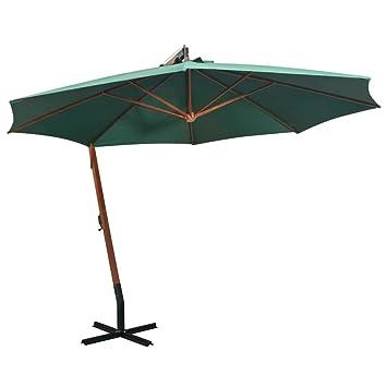 bf200f3b974de vidaXL Hanging Parasol 350cm Wooden Pole Green Garden Patio Umbrella  Sunshade
