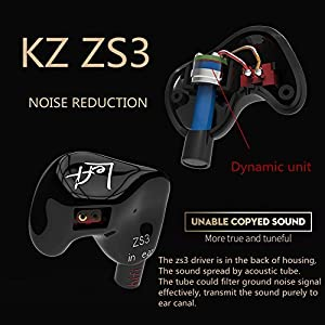 KZ ZS3 Noise Cancelling In-ear Earphone Hifi Comfort Sport In-ear Headset (bright no mic) (Color: Black, Tamaño: without mic)