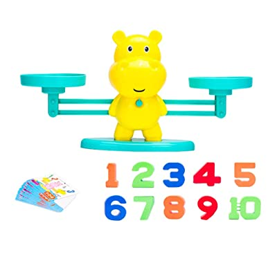 Toyvian 1 Set Hippo Number Balance Math Games Preschool Educational Toys Early Math Teaching Tool Counting Toy for Kids Learning Numbers Basic Addition Subtraction (Random Color): Toys & Games