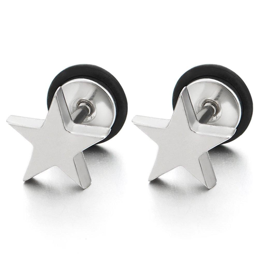 10MM Llanura Planas Estrella Pentagrama Pendientes de Hombres, Acero Inoxidable, Cierre Tornillo, 2 Piezas