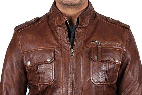 cuero verdadera motorista de Brandslock hombre chaqueta de Para 7R7q1Ywz