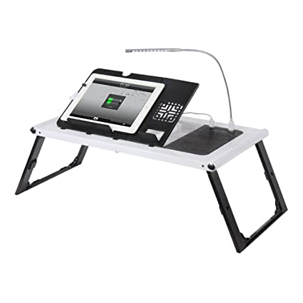 Bon Etable Adjustable Lap Desk Laptop Bed Tray With Built In 10000mAh  Rechargeable Power Bank And