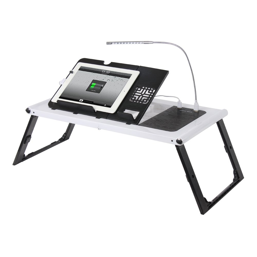 Etable Adjustable Lap Desk Laptop Bed Tray with Built-in 10000mAh Rechargeable Power Bank and LED Light - Folding Tablet Stand Reading Desk White by Etable