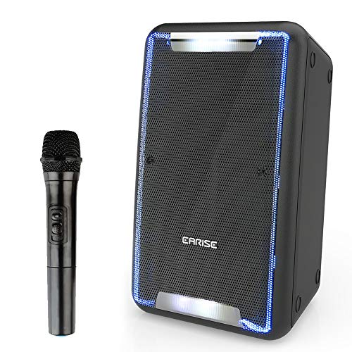 EARISE DT21 Portable PA Speaker with Wireless Microphone, Karaoke Speaker Work with Bluetooth, DJ Amplified Loudspeakers with LED Lights, Audio Recording, Shoulder Strap, Guitar Input, FM, AUX/USB/SD