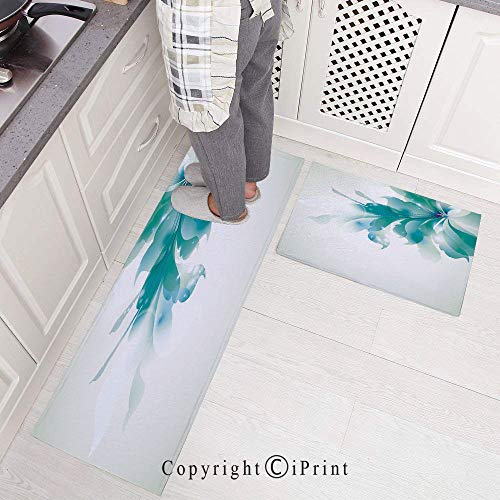 """2 Pieces Creative Non-Slip Kitchen Mat Rubber Backing Doormat Runner Rug Set,Big Single Beautiful Abstract Blue Ombre Flowers Artwork Design 15.7""""x23.6""""+15.7""""x47.2"""",White Light Blue and Blue"""