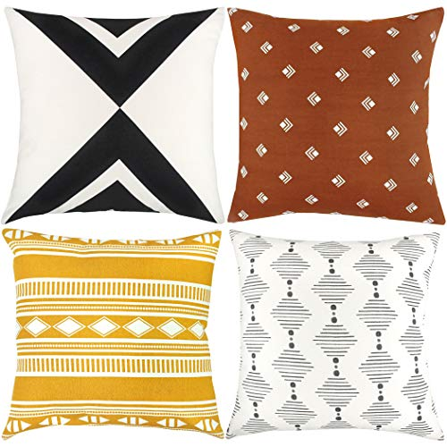 Woven Nook Decorative Throw Pillow Covers ONLY for Couch, Sofa, or Bed Set of 4 18 x 18 inch Modern Quality Design 100% Cotton Orange Yellow Black White Indy ()
