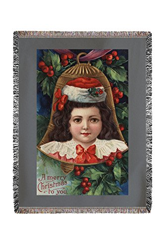 Lantern Press A Merry Christmas to You - Girl in Santa Hat in Bell 10624 (60x80 Woven Chenille Yarn Blanket)