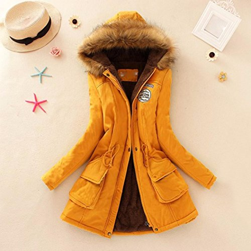 Sonnena Collar Womens Coats Parka Fur Coat Outwear Jacket Warm Yellow Slim Hooded Winter Long 6drxZ6qX