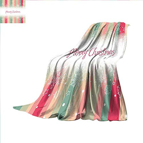 Year Super Soft Lightweight Blanket Colorful Vertical Stripes with Merry Christmas Quote Winter Season Theme Snowflake Oversized Travel Throw Cover Blanket 50