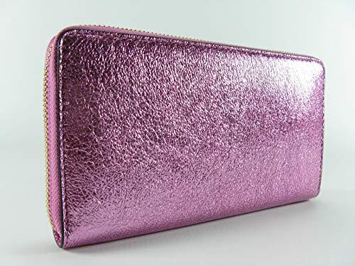 Tory Burch Crinkle Metallic Zip Continental Wallet (Pink)
