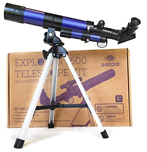 Qurious Space Kid's Explorer Telescope Gift Kit w Eco Carry Case 1600 | Children & Astronomy Beginners | Moon Travel Scope | Table-top Tripod | Compass| Glow-in-The-Dark Stickers | Science Education