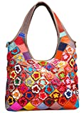 Heshe Hobo Organizer Multi-color Stitching Splicing Shoulder Cross Body Top Handle Bags Handbags for Women with Flowers Summer Style (Colorful-2B4021)