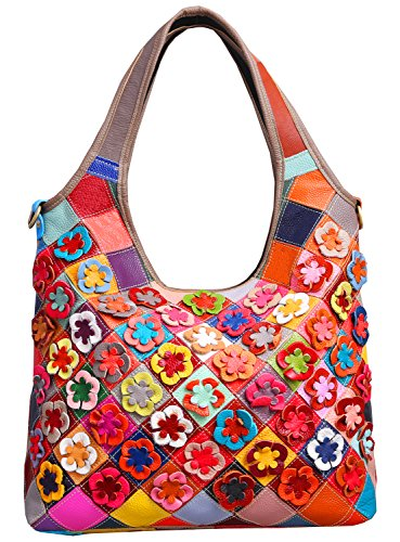 Heshe Hobo Organizer Multi-color Stitching Splicing Shoulder Cross Body Top Handle Bags Handbags for Women with Flowers Summer Style (Colorful-2B4021) ()