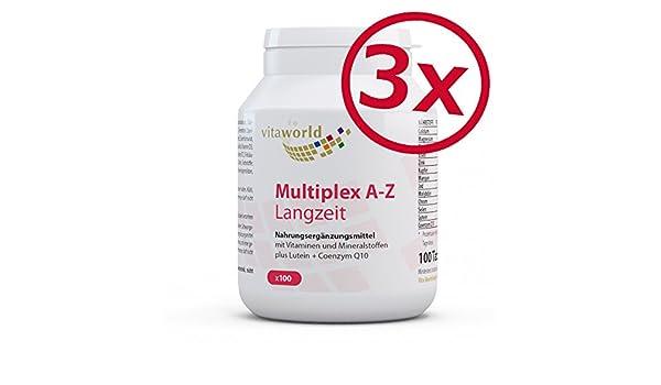 Pack de 3 Complejo Multivitamínico A-Z - Liberación Progresiva - 3 x 100 Comprimidos Vita World Farmacia Alemania - Vitaminas y Minerales - Luteína y ...