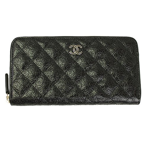 Chanel Matrasse Black Leather With Camellia Long Wallet A70307 Zip (Chanel Long Wallet)
