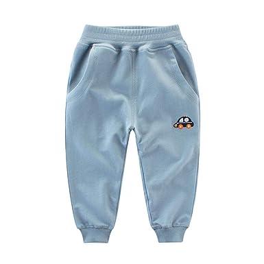 15573c04fbcd5 Hongyuangl Pantalon de Jogging avec Cartoon Voiture Broderie Printemps  Automne pour Bébé Enfants garçons Pantalons de