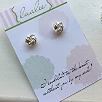 Silver Knot Earrings Knot Jewelry Stud Earrings Post Earrings Bridesmaid Card Gift Tie the Knot Card Wedding Jewelry