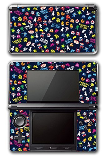 Retro Video Game Pixel Art Mega Man Bubble Bobble Galaga Game Over Insert Coin Mario Video Game Vinyl Decal Skin Sticker Cover for Original Nintendo 3DS System by Vinyl Skin Designs