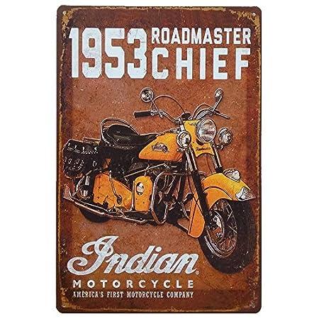 MARQUISE & LOREAN Placas Decorativas Pared Moto Indian Motorcycle Decoración Carteles Vintage Metálicos MIRA … (Marrón, 20 x 30 cm)