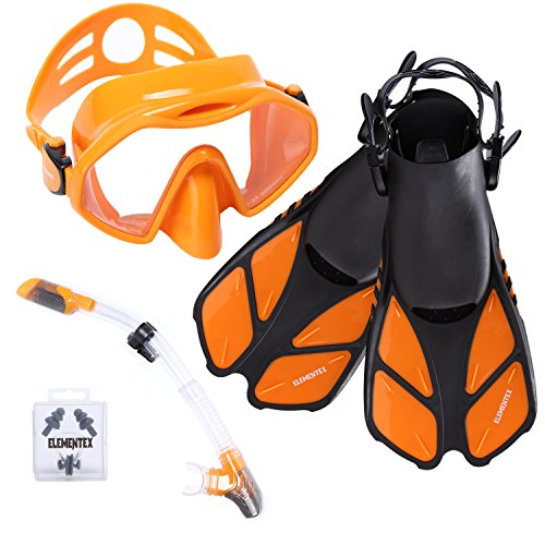 ELEMENTEX Dry Snorkel Set with Scuba Mask, Fins n Top Valve ()