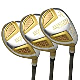 Japan Epron Gold Hybrids Golf Club Wood Set+Leather Cover(18,21,24 Degree Loft,Regular Flex,Graphite Shaft,Pack of 3)
