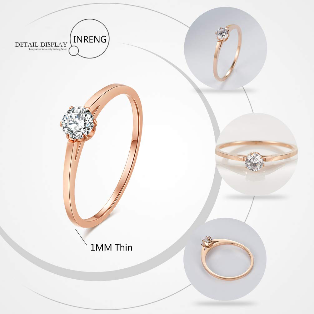 INRENG 1MM Rose Gold Stainless Steel Cubic Zirconia Stackable Eternity Wedding Ring Band for Women Girls