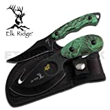 Elk Ridge Hunting Knife Two-Piece Set, 7-Inch Straight Edge and 6.5-Inch Gut Hook Blades