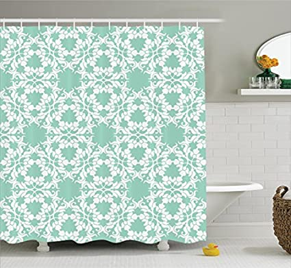 Turquoise Decor Shower Curtain By Ambesonne, Floral Ornamental Damask  Cercle Curl Pattern Vintage Victorian Design