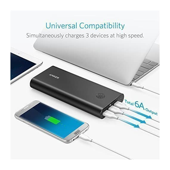 Anker PowerCore+ 26800, Premium Portable Charger, High Capacity 26800mAh External Battery with Qualcomm Quick Charge 3.0… 6 The Anker Advantage: Join the 50 million+ powered by America's leading USB charging brand. Qualcomm Quick Charge 3.0: Using Qualcomm's advanced Quick Charge 3.0 technology, PowerCore+ allows compatible devices to charge 85% faster. Recharges itself 2X as fast with the included wall charger. Fast-Charging Technology: Exclusive to Anker, PowerIQ and VoltageBoost technologies combine to provide universal full speed charging for non-Quick Charge devices, up to 3 amps per port.