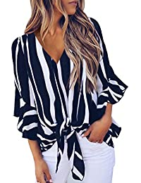 Womens Fall Striped V Neck Tops 3/4 Flare Sleeve Tie Knot Loose Blouses and Tops