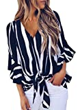 Asvivid Womens Summer Striped V Neck Bell Sleeve Loose Office Tshirt Tops Plus Size X-Large Black
