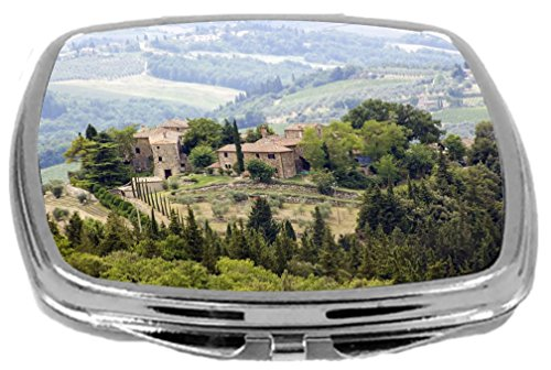 Vanity Bath Tuscany (Rikki Knight Compact Mirror, Typical Tuscan Houses in The Hills of Tuscany, 3 Ounce)