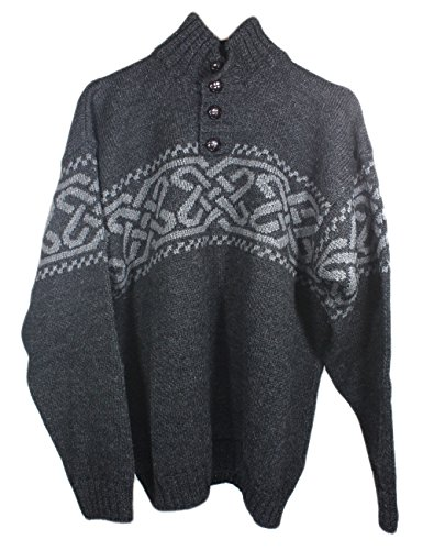 Carraig Donn Men's 100% Irish Merino Wool Sweater with a Trinity Knot Design, Charcoal, Large by Carraig Donn