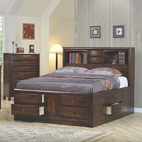 Coaster Home Furnishings Hillary California King Bookcase Bed with Underbed Storage Drawers Warm Brown (Bookcase King California)