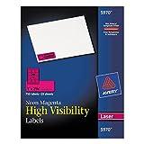 Avery 5970 Neon Laser Labels, Rectangle, 1'' x2-5/8, 750/PK,Neon Magenta