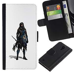 KingStore / Leather Etui en cuir / Samsung Galaxy S4 IV I9500 / Espadachín Ladrón Blanca personaje del juego