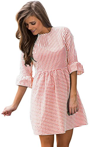 Sundresses 4 Dress Women's Mini Casual Striped Flare Fit 3 HOTAPEI Summer Red and Sleeve xUna6xBH