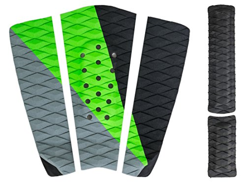 Rogue Iron Premium Skimboard Traction Pad w/Arch Bar (Black and Green)