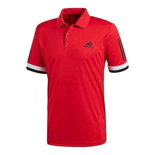 456506a85d6fd Amazon.com : adidas Men`s Club 3 Stripe Tennis Polo Scarlet ...