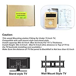 Little Artisan Wood TV Box Mounting Station system For Amazon New And Old Fire TV Streaming Media Player and Remote