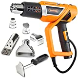 VonHaus 1500W Heat Gun Hot Air Gun with Variable Temperature Control, 3-Position Adjustable Handle and 5 Nozzle Attachments for Shrinking PVC, Removing Paint, Bending Pipes, BBQ Grills